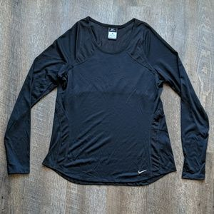 Nike Black Running Shirt Long Sleeve Mesh